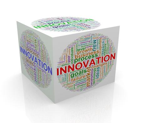 wordcloud: 3d rendering of cube box of wordcloud word tags of innovation