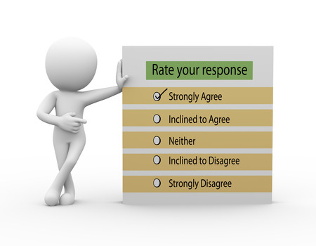 response: 3d rendering of businessman standing with your response rate survey report. 3d white person people man