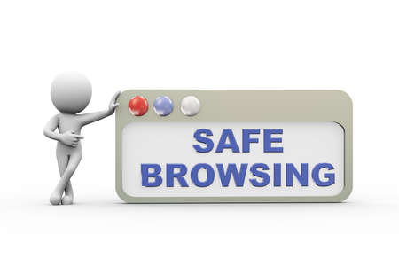 secure site: 3d rendering of man with safe browser. Concept of secure and safer internet browsing. 3d white person people man