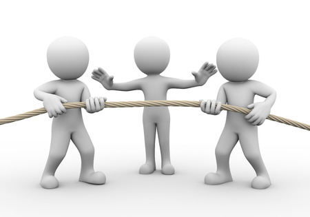 3d rendering of tug of war among two person while another stopping them. Concept of conflict and dispute between couple.