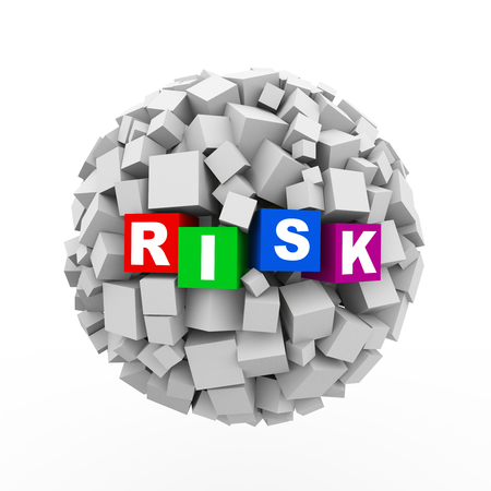 reduce: 3d rendering of abstract cubes boxes sphere ball of word text risk Stock Photo