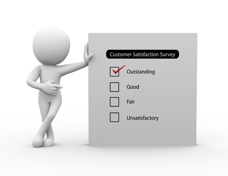 satisfaction: 3d rendering of businessman standing with customer satisfaction survey. 3d white person people man