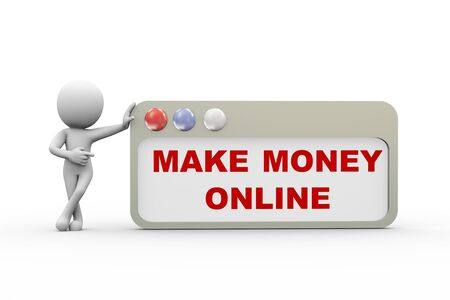 money online: 3d rendering of man standing with make money online browser concept. 3d white person people man Stock Photo