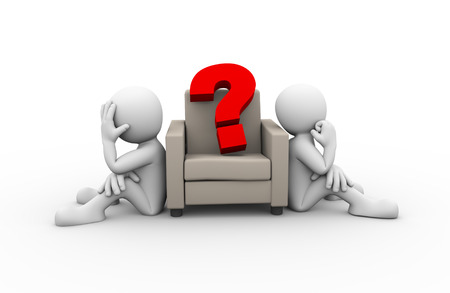 question: 3d rendering of people sitting on sofa and large question mark. Presentation of family problem, people conflict and dispute