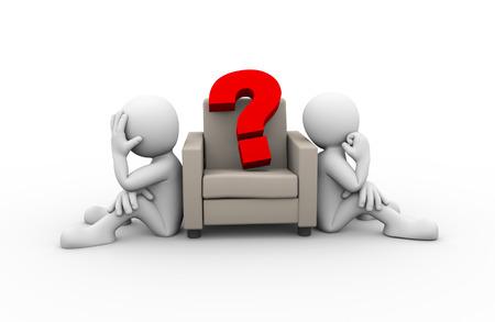 conflicto: Representación 3D de gente sentada en el sofá y gran signo de interrogación. Presentación del problema familiar, el conflicto y la disputa personas
