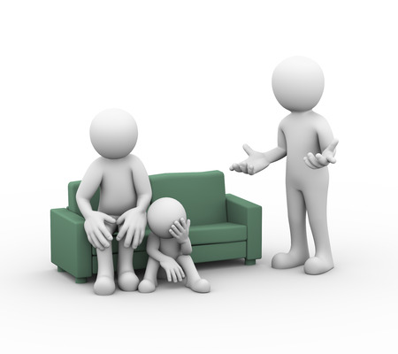 wife: 3d illustration of upset wife on sofa along with child sofa and husband arguing. family problem, people conflict and dispute
