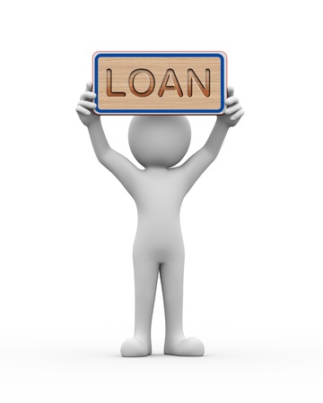 owe: 3d rendering of man holding engraved wooden banner of word text loan. 3d white person people man Stock Photo