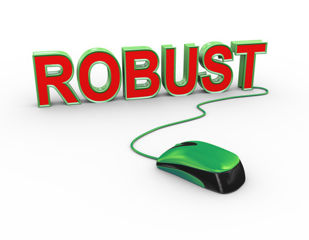 robust: 3d rendering of computer mouse connected to word text robust