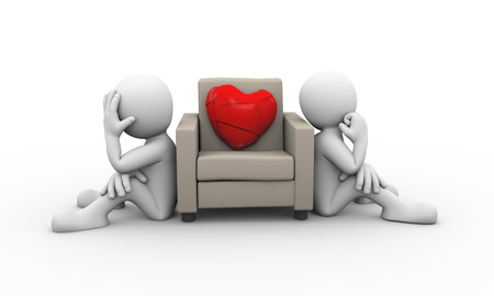 upset woman: 3d rendering of people sitting and large broken heart on sofa. Presentation of family problem, people conflict and dispute