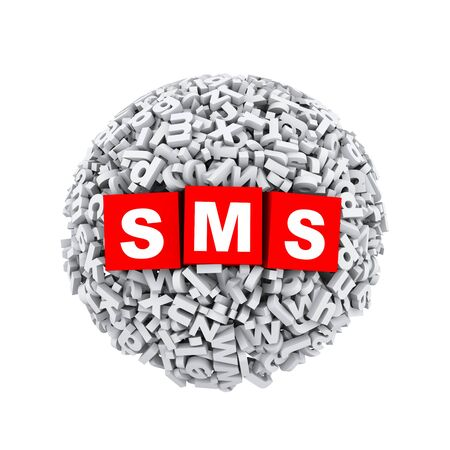 short message service: 3d rendering of sms cubes boxes inside sphere ball made up of random alphabet character letter