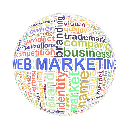 Illustration of word tags wordcloud ball sphere of web marketing