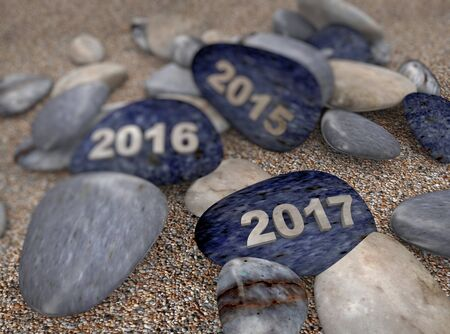 everlasting: 3d rendering of pebble stones with text 2015, 2016 & 2017 on beach Stock Photo