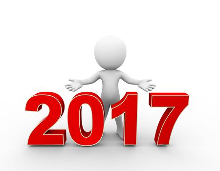 hi end: 3d rendering of man with open arm gesture pose standing with new year 2017 . 3d white person people man. Stock Photo