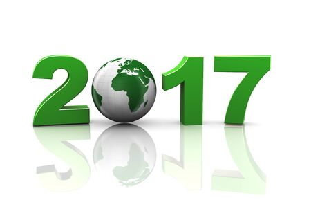 new years day: 3d rendering of world map sphere globe in happy new year 2017 concept