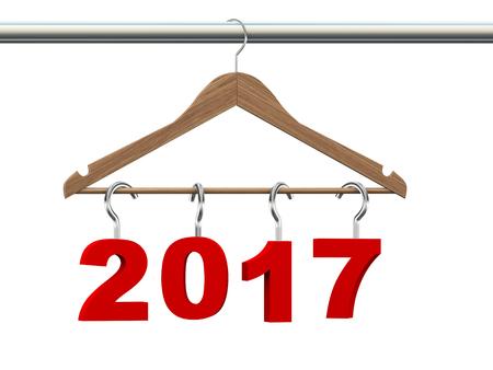 coathanger: 3d rendering of new year 2017 handing on wooden cloth hanger