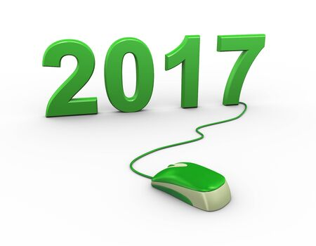 new year eve: 3d rendering of computer mouse connected to happy new year 2017