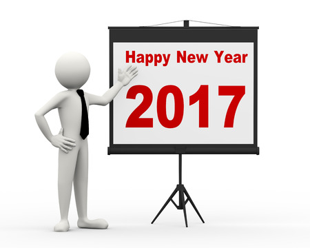 next year: 3d rendering of business person with tripod projector screen presenting new year 2017. 3d white people man character. Stock Photo