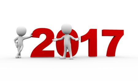 hi end: 3d rendering of people welcome new year 2017. 3d white person people man