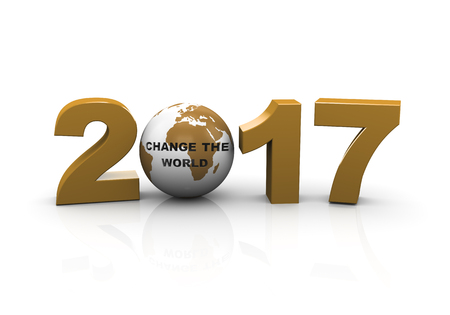 time change: 3d rendering  of year 2017 and globe with text change the world