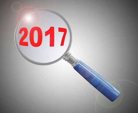hover: 3d rendering of magnifying glass hover over new year 2017 Stock Photo