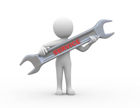 assistance: 3d rendering of man holding wrench having text word service. 3d white person people man. Stock Photo
