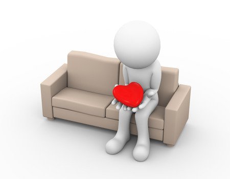 sad: 3d illustration of upset sad loser lover sitting on sofa and holding heart in his hand. 3d white person people man
