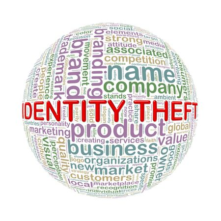 theft: Illustration of word tags wordcloud ball sphere of identity theft