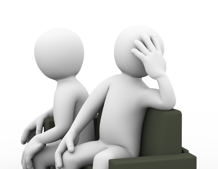 conflict: 3d illustration of upset couple sitting on sofa. family problem, people conflict and dispute