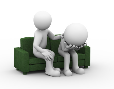 frustrated: 3d rendering of supporting man consoling and comforting sad frustrated depressed man sitting on sofa. 3d white people man character