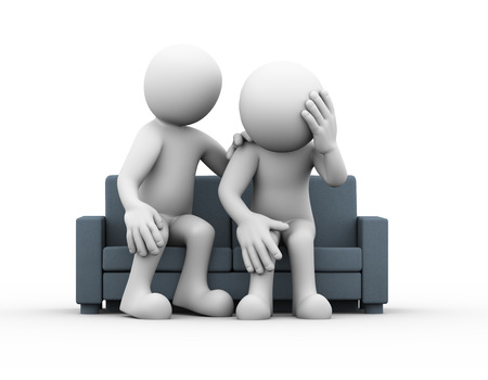 sitting people: 3d rendering of man consoling and comforting support to sad frustrated depressed man sitting on sofa. 3d white people man character Stock Photo