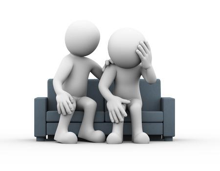 gente sentada: representación 3D de hombre y consolador apoyo reconfortante triste hombre deprimido frustrado sentado en el sofá. 3d personas de raza blanca del carácter del hombre Foto de archivo