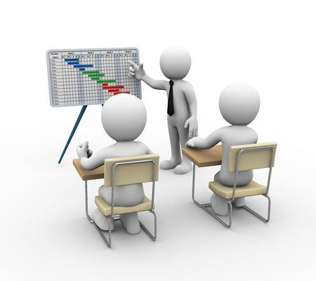 cronogramas: representación 3D de negocios que presenta diagrama de Gantt del proyecto. 3d ilustración del carácter humano
