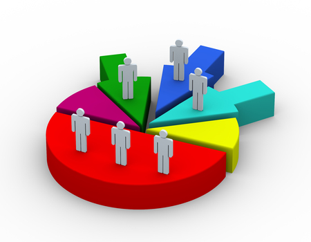 merge: 3d render of people on pie chart. Concept of companies and business joint venture, merge, alliance, acquisitions