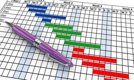 timescale: 3d render of pen on project gantt progress chart sheet Stock Photo