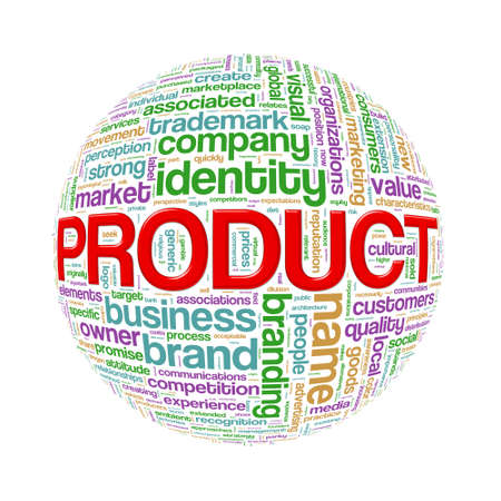 branded product: Illustration of word tags wordcloud ball sphere of product
