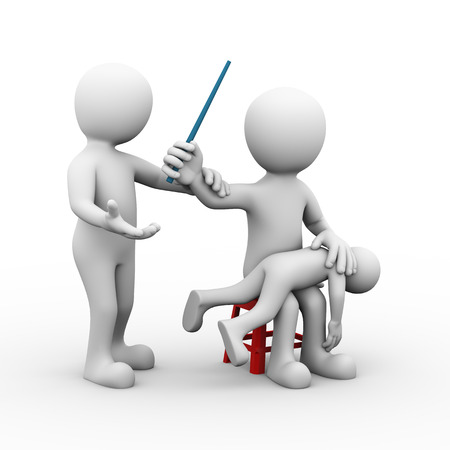 domestic violence: 3d illustration of father beating his kid with stick and wife stopping him by holding his hand. 3d rendering of people man human character Stock Photo