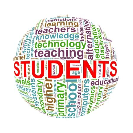 career coach: Illustration of word tags wordcloud ball sphere of students