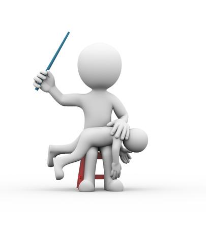 3D-Darstellung der böse Vater seinen Sohn mit Stock zu schlagen. Konzept der Familie Strafe, Kindesmissbrauch. 3D-Rendering von Menschen Mann menschlichen Charakter