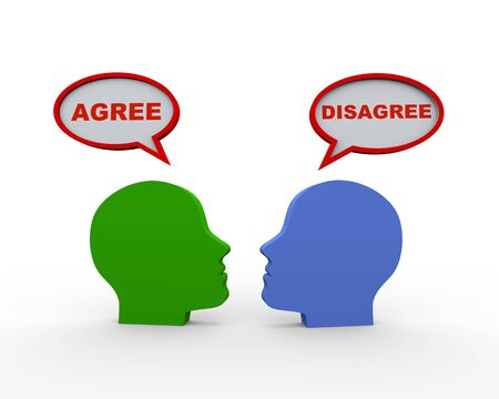 disagree: 3d render of two human heads with speech bubble having word agree and disagree. Stock Photo