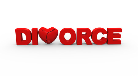 unmarried: 3d illustration of word text divorce concept