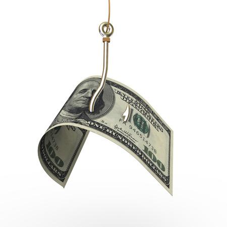 representación 3D de un gancho de pesca con EE.UU. dólar la moneda se adjunta al final