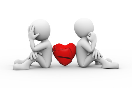 unmarried: 3d rendering of people sitting back to back with broken heart. Family problem, people conflict and dispute.