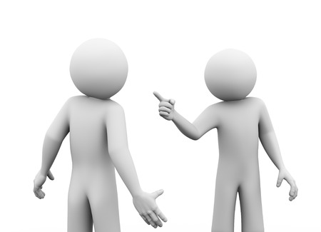 opponent: 3d rendering of angry man pointing finger to his opponent. 3d white people man character. Stock Photo