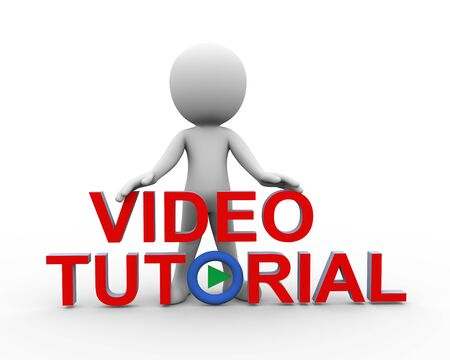 3d rendering of man standing with word video tutorial. 3d white person people man Stock Photo