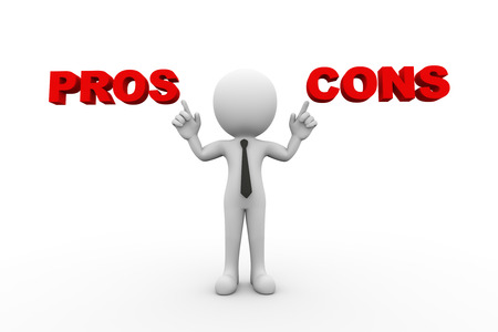 3d rendering of man pointing to word text pros and cons. 3d white person people man