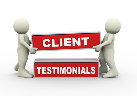3d rendering of people placing client testimonial. 3d white person people man