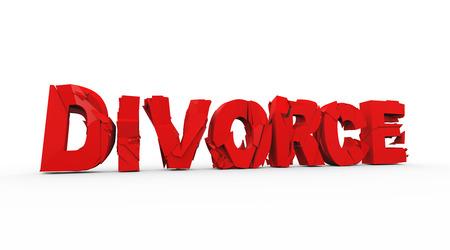 unmarried: 3d illustration of demolished cracked broken word text divorce concept