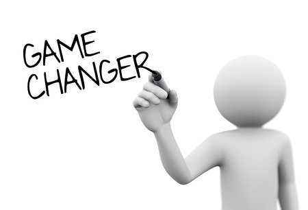 person writing: 3d rendering of man writing game changer on screen with marker. 3d white person people man