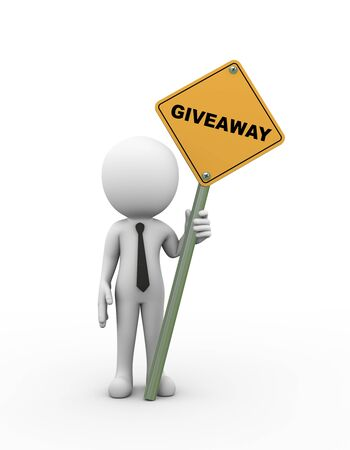 give away shop: 3d rendering of man holding giveaway road signboard. 3d white person people man