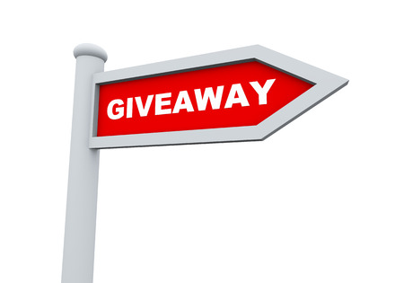 give away shop: 3d rendering of road sign of giveaway promotional offer Stock Photo